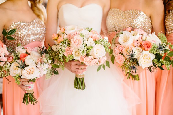 Southern wedding pink and gold bouquets coresfilms junglespirit Images